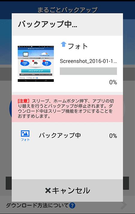 バックアップボタンを押した後の画面